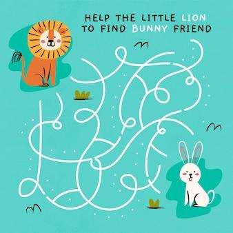 Leuk doolhof voor kinderen met leeuw en konijn