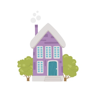 Leuk dorpshuis icoon. cartoon van schattig dorpshuis vector pictogram voor webdesign geïsoleerd op een witte achtergrond