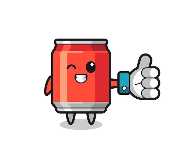 Leuk drankje kan met social media thumbs up symbool, schattig stijlontwerp voor t-shirt, sticker, logo-element