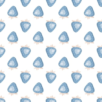 Leuk eenvoudig naadloos patroon met blauwe aardbeien en bladeren delicate print voor inpakpapier tekst...