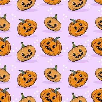 Leuk en grappig halloween-pompoen naadloos patroon.