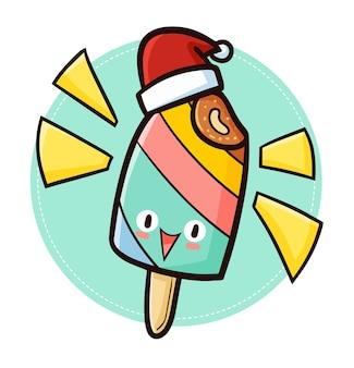 Leuk en grappig kawaii kleurrijk roomijs dat de hoed van de kerstman draagt voor kerstmis