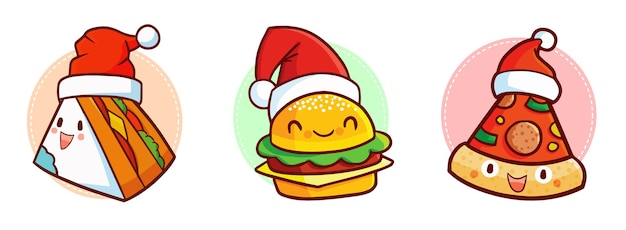 Leuk en grappig kawaiisandwich, hamburger en pizzakarakter die de hoed van de kerstman dragen voor kerstmis
