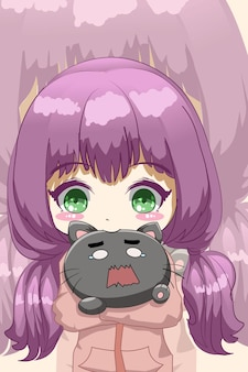 Leuk en grappig meisje met schattige kat cartoon afbeelding