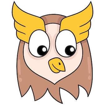 Leuk en grappig uilhoofd, vectorillustratieart. doodle pictogram afbeelding kawaii.