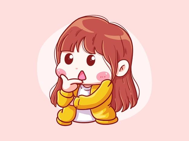 Leuk en kawaii girl thinking pose chibi illustration