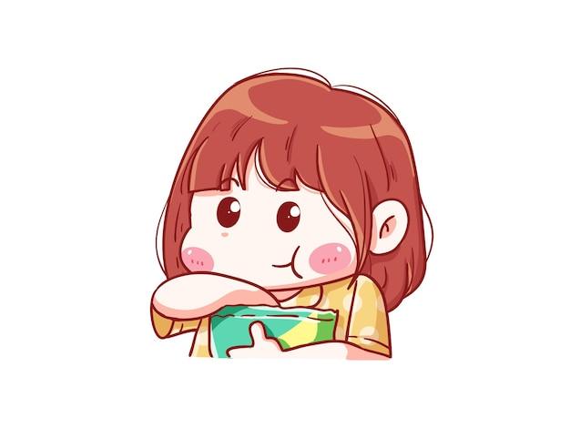Leuk en kawaii meisje eet snack chibi