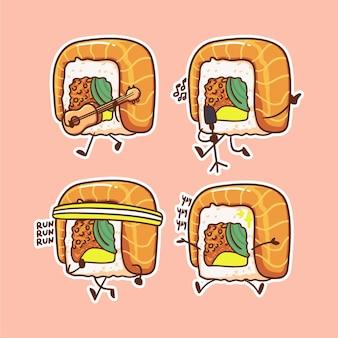 Leuk en kawaii sushi roll-personage