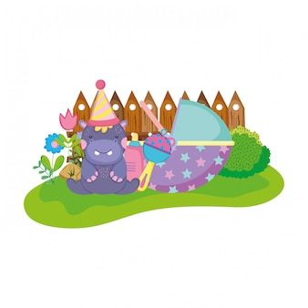 Leuk en klein hippokarakter met feesthoed
