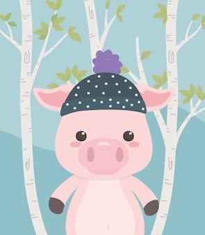 Leuk en klein varken in het veld