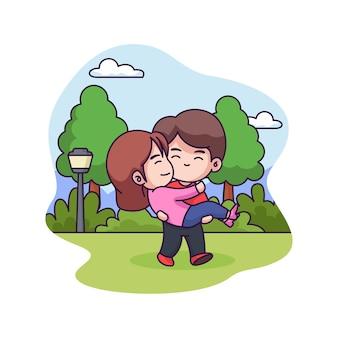 Leuk en lief paar in het park