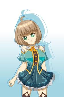Leuk en mooi meisje met blauwe jurk karakter spel cartoon afbeelding