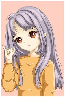 Leuk en zacht meisje met gele truiillustratie