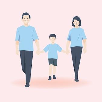 Leuk familieportret karakter, vader moeder en zoon wandelen samen in casual outfit