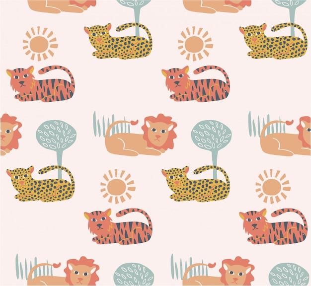 Leuk felines naadloos patroon