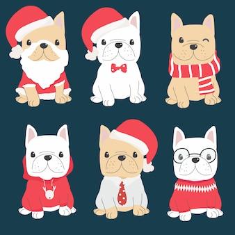 Leuk frans buldogpuppy in de inzameling van het kerstmiskostuum