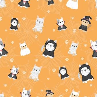 Leuk frans buldogpuppy in halloween-kostuum naadloos patroon