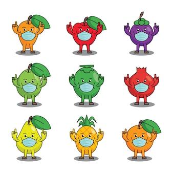 Leuk fruitkarakter dat gezichtsmasker vectorontwerp draagt