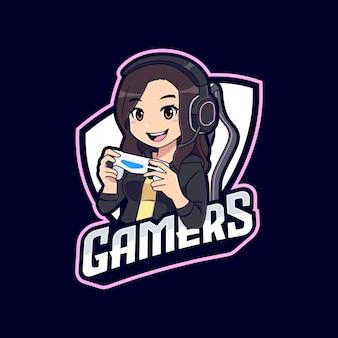 Leuk gamer meisje met hoodie embleem logo sjabloon