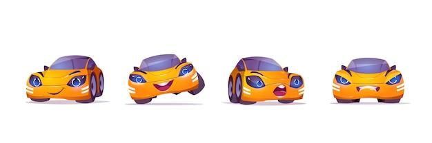 Leuk geel autokarakter in verschillende poses