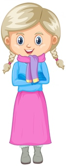 Leuk geïsoleerd meisje in de winterkleren