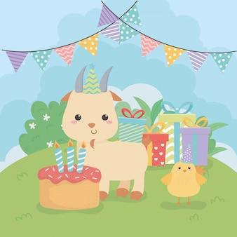 Leuk geit dierlijk landbouwbedrijf in de scène van de verjaardagspartij