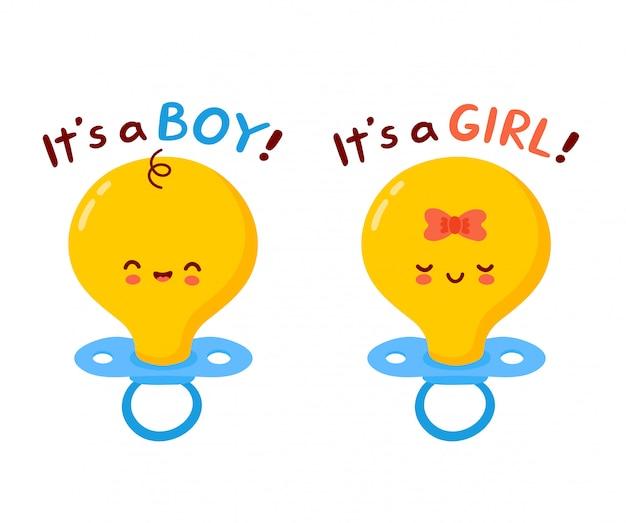 Leuk gelukkig baby-tepelkarakter. het is een jongen, het is een jongenskaart. cartoon karakter illustratie