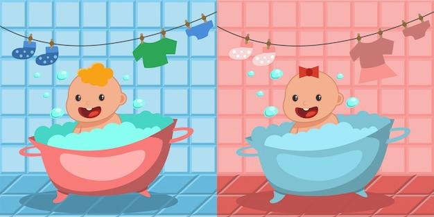 Leuk gelukkig babybadje. jongen en meisje badend in een badkuip met schuim bubbels.