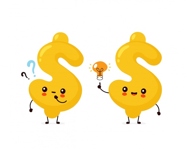 Leuk gelukkig dollartekenkarakter met vraagteken en idee gloeilamp.