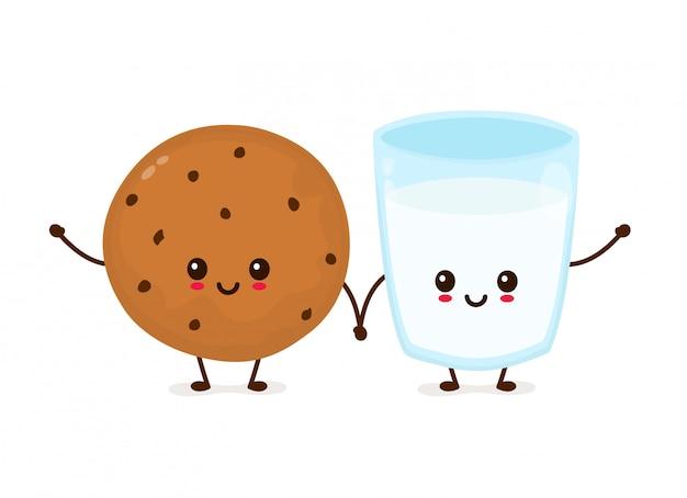 Leuk gelukkig glimlachend chocoladeschilferkoekje en glas melk. platte cartoon iluustration pictogram. geïsoleerd op wit. vers gebakken chocokoekje met melk
