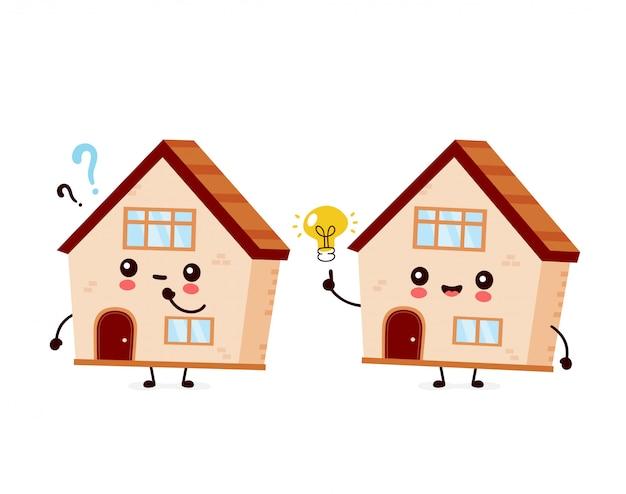 Leuk gelukkig glimlachend huis met vraagteken en idee gloeilamp.