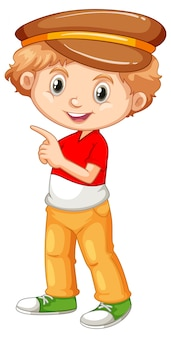 Leuk gelukkig glimlachend kind dat op witte achtergrond wordt geïsoleerd