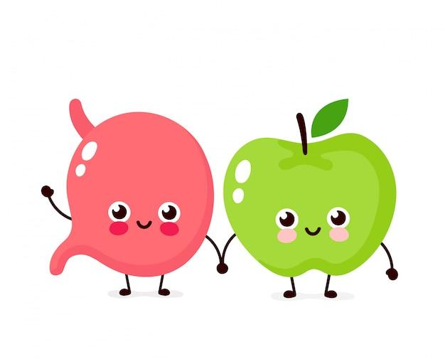 Leuk gelukkig glimlachend maag en appelkarakter. vector platte cartoon afbeelding ontwerp. geïsoleerd op wit. maag en appel vrienden karakter concept