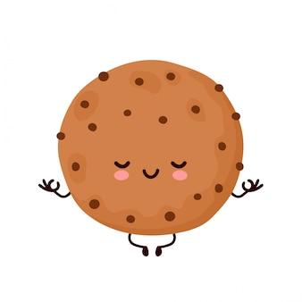Leuk gelukkig grappig chocoladekoekje mediteren. vector cartoon characterdesign illustratie. geïsoleerd