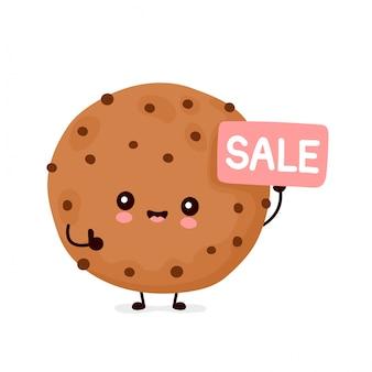 Leuk gelukkig grappig chocoladekoekje met verkoopteken. vector cartoon characterdesign illustratie. geïsoleerd