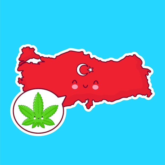 Leuk gelukkig grappig turkije kaart en vlag karakter met onkruid marihuana in tekstballon.