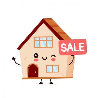 Leuk gelukkig lachend huis. platte cartoon karakter illustratie pictogram ontwerp. huis bouwen, huis concept