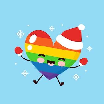 Leuk gelukkig lgbt-hart in kerstmishoed en handschoenen