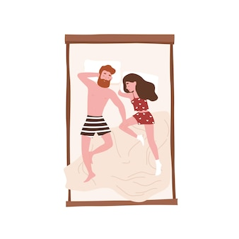 Leuk gelukkig paar dat in comfortabel bed ligt. grappige man en vrouw die 's nachts slapen. meisje en jongen dutten, sluimeren of dommelen thuis. ontspanning en recreatie. platte cartoon kleurrijke vectorillustratie.