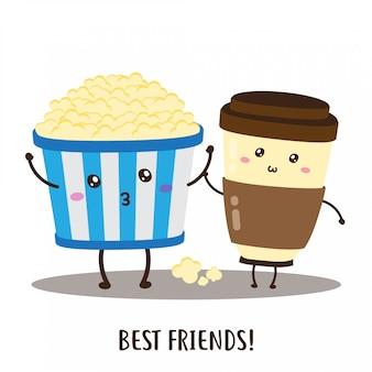 Leuk gelukkig popcorn en koffie vectorontwerp Premium Vector