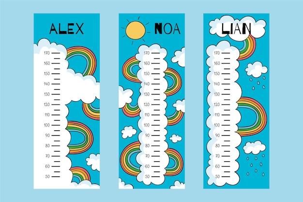 Leuk getekend hoogtemeters pakket geïllustreerd