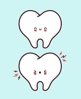Leuk gezond en ziek triest grappig menselijk tandkarakter