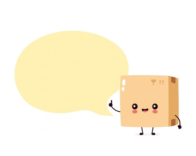 Leuk glimlachend gelukkig pakket, leveringsdoos met toespraakbel. platte cartoon karakter illustratie. geïsoleerd op wit. levering vak karakter