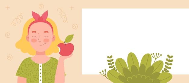 Leuk glimlachend meisje dat een appel eet. schoolsnack, gezonde voeding, fruitdieet, vitamines voor kinderen. banner voor website. spase voor tekst, sjabloon. platte vector cartoon stock illustratie