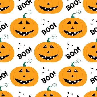 Leuk glimlachend pompoenkarakter met boe-letters en kruis. halloween naadloze patroon. geïsoleerd op witte achtergrond.