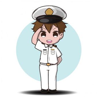 Leuk glimlachend weinig jongenskarakter die zeelieden dragen.
