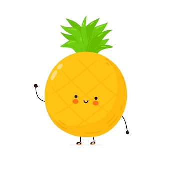 Leuk grappig ananasfruitkarakter. hand getekend cartoon kawaii karakter illustratie. geïsoleerd op witte achtergrond. ananas fruit karakter concept
