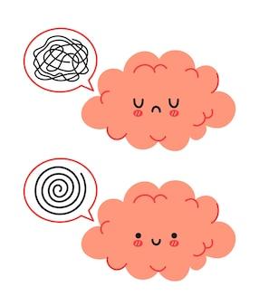 Leuk grappig blij en verdrietig hersenkarakter en tekstballon