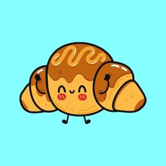 Leuk grappig chocolade croissant karakter