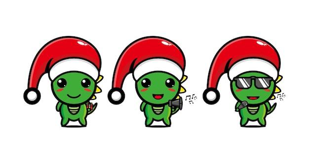 Leuk grappig dino-personage dat kerst viert vector platte lijn kawaii stripfiguur